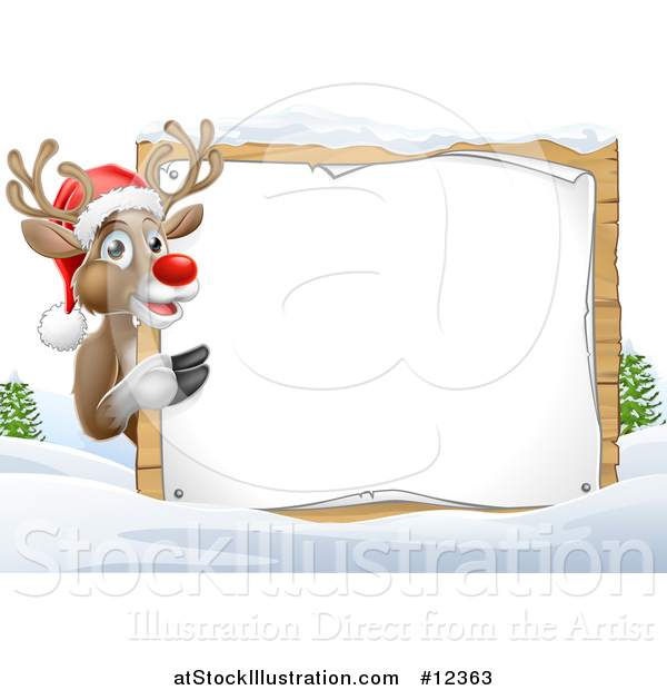 Vector Illustration of a Red Nosed Christmas Reindeer with a Blank Sign in a Winter Landscape