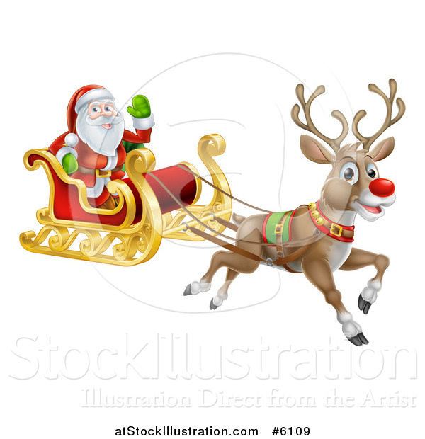 Vector Illustration of a Red Nosed Reindeer Flying Santa in a Sleigh