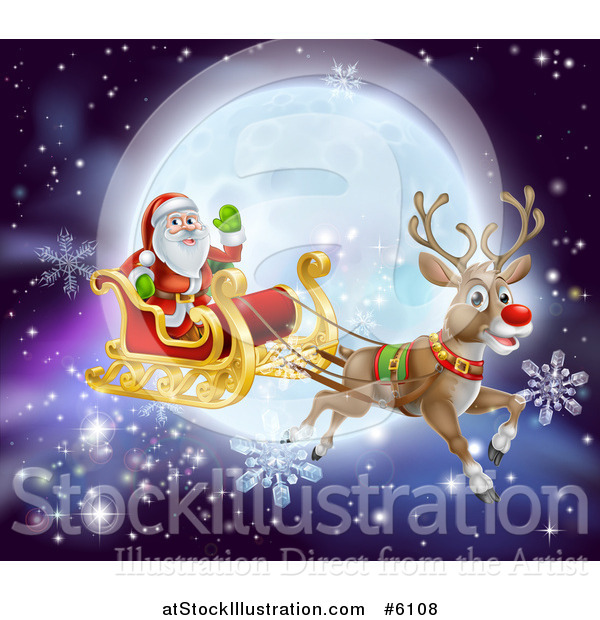 Vector Illustration of a Red Nosed Reindeer Flying Santa in a Sleigh over a Full Moon