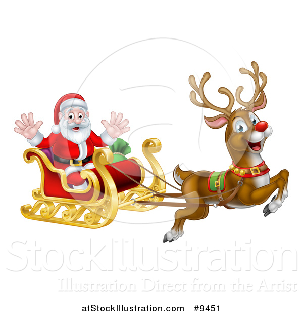 Vector Illustration of a Red Nosed Reindeer, Rudolph, Flying Santa in a Sleigh