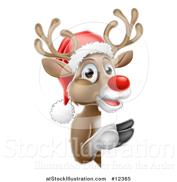 Vector Illustration of a Red Nosed Reindeer Wearing a Christmas Santa Hat and Looking Around a Sign