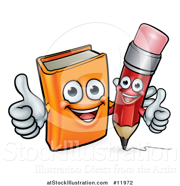 Vector Illustration of a Red Pencil and Orange Book Giving Thumbs up