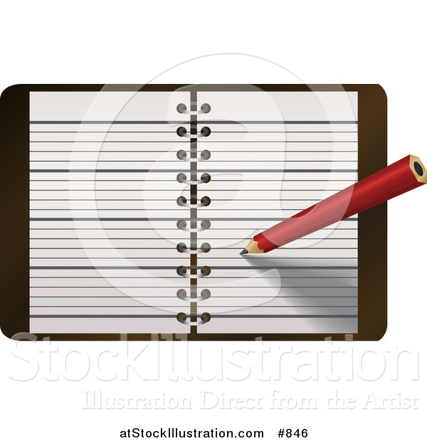 Vector Illustration of a Red Pencil Writing Notes or a Meeting in a Day Planner, Journal or Notebook