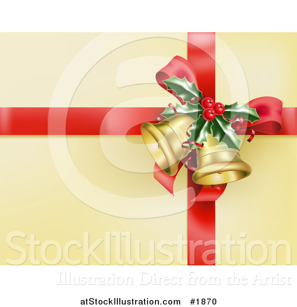Vector Illustration of a Red Ribbon with Holly and Christmas Bells on Golden Wrapping Paper