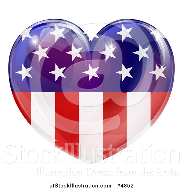 Vector Illustration of a Reflective American Flag Heart
