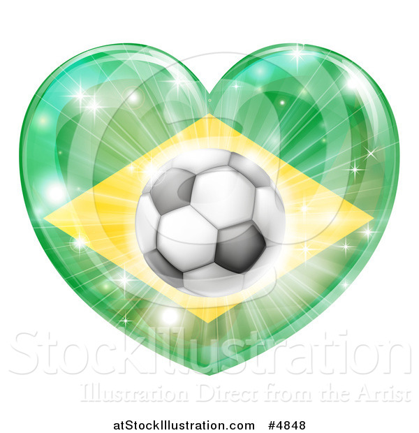 Vector Illustration of a Reflective Brazil Flag Heart and Soccer Ball