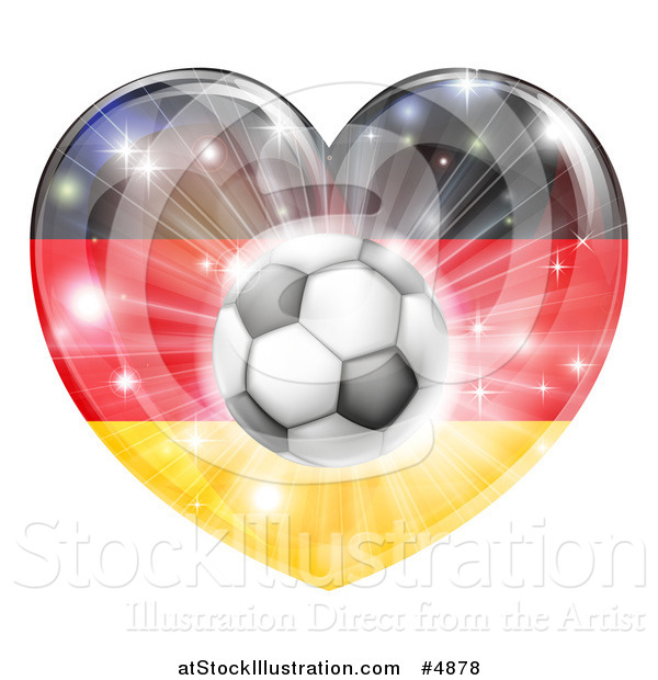Vector Illustration of a Reflective German Flag Heart and Soccer Ball