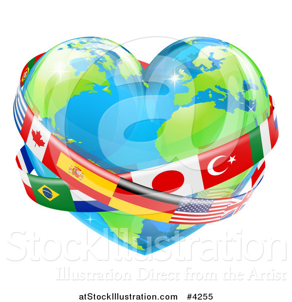 Vector Illustration of a Reflective Heart Earth Globe with National Flag Sashes