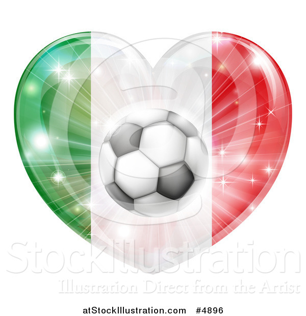 Vector Illustration of a Reflective Italian Flag Heart and Soccer Ball