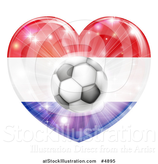 Vector Illustration of a Reflective Netherlands Flag Heart and Soccer Ball