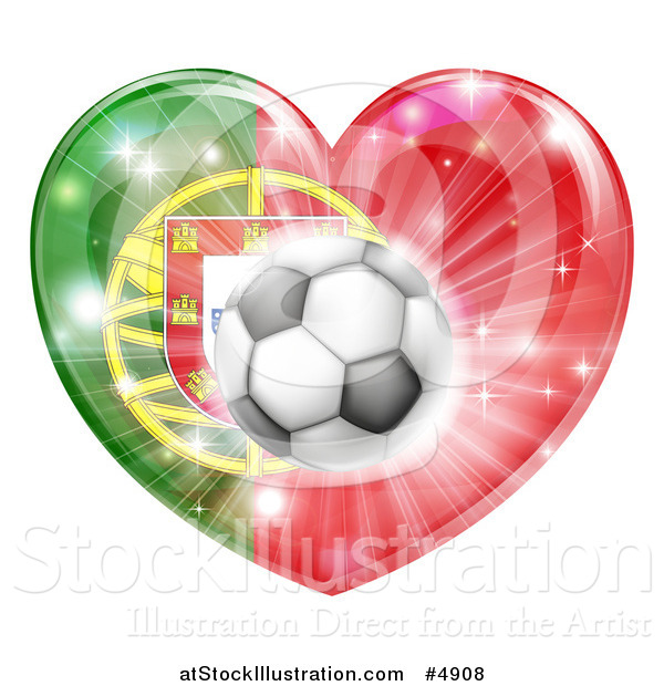 Vector Illustration of a Reflective Portugal Flag Heart and Soccer Ball