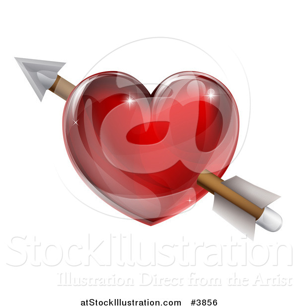 Vector Illustration of a Reflective Red Heart with Cupids Arrow