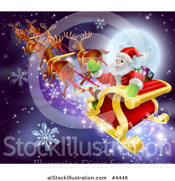 Vector Illustration of a Reindeer and Santa in His Magic Sleigh Against a Full Moon with Snowflakes