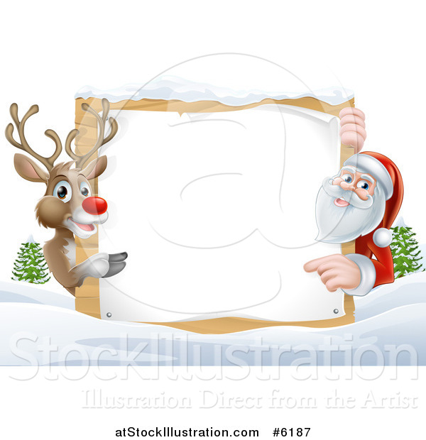 Vector Illustration of a Reindeer and Santa Pointing Around a Christmas Wood Sign in the Snow