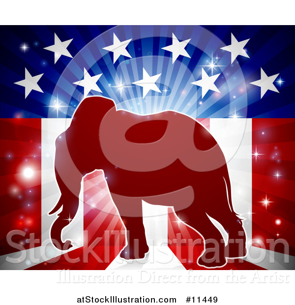 Vector Illustration of a Republican Elephant over an American Flag Themed Burst