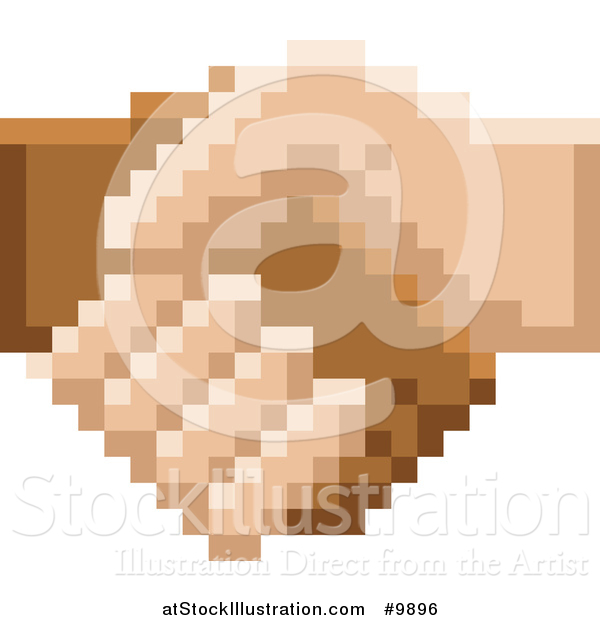 Vector Illustration of a Retro 8 Bit Pixel Art Styled Hands Shaking