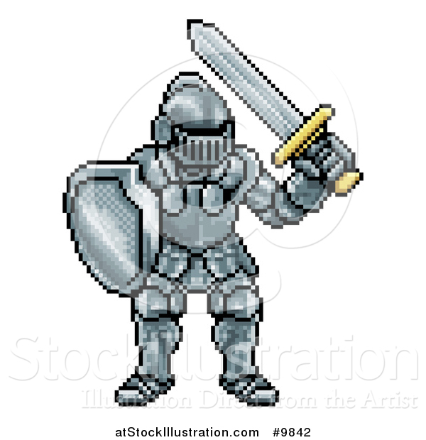 Vector Illustration of a Retro 8 Bit Pixel Art Video Game Styled Knight