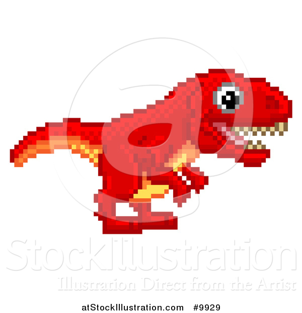 Vector Illustration of a Retro 8 Bit Pixel Art Video Game Styled Red Tyrannosaurs Rex Dinosaur