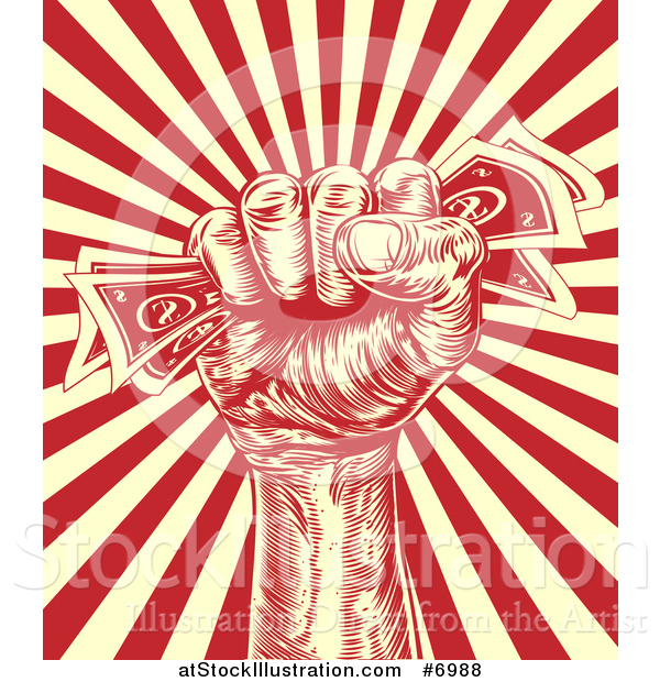 Vector Illustration of a Retro Engraved Revolutionary Fist Holding Money over a Red and Yellow Burst