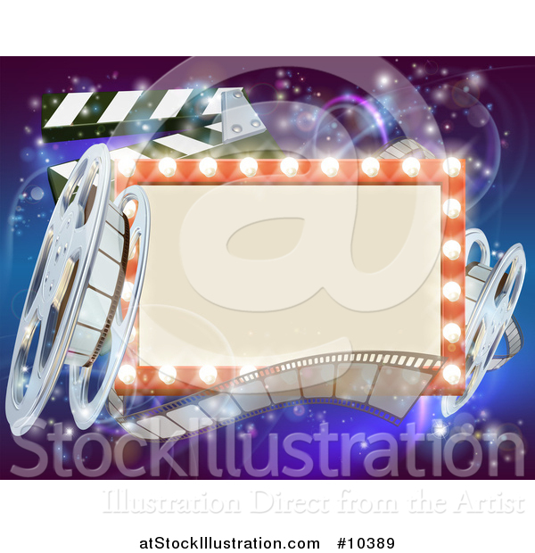 Vector Illustration of a Retro Marquee Theater Sign with Light Bulbs, Film Reels and Clapper Board over Magical Lights