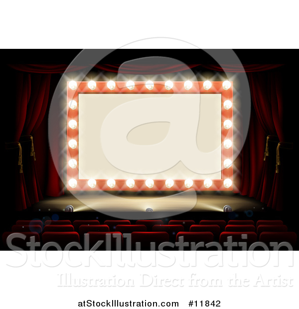 Vector Illustration of a Retro Marquee Theater Sign with Light Bulbs on a Stage