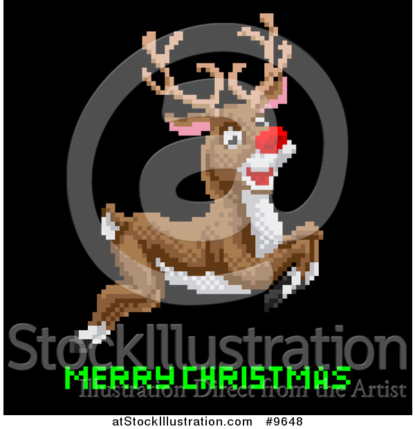 Vector Illustration of a Retro Pixelated Leaping Rudolph Red Nosed Reindeer over Merry Christmas Text