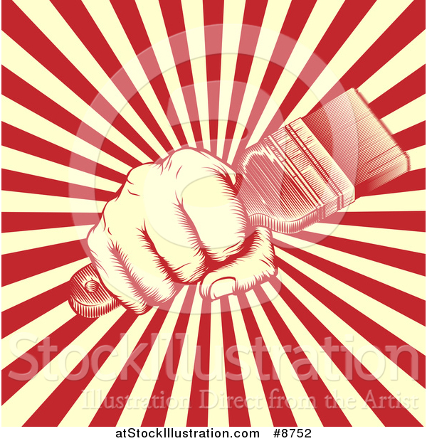 Vector Illustration of a Retro Woodcut Fist Holding a Paintbrush over Yellow and Red Rays