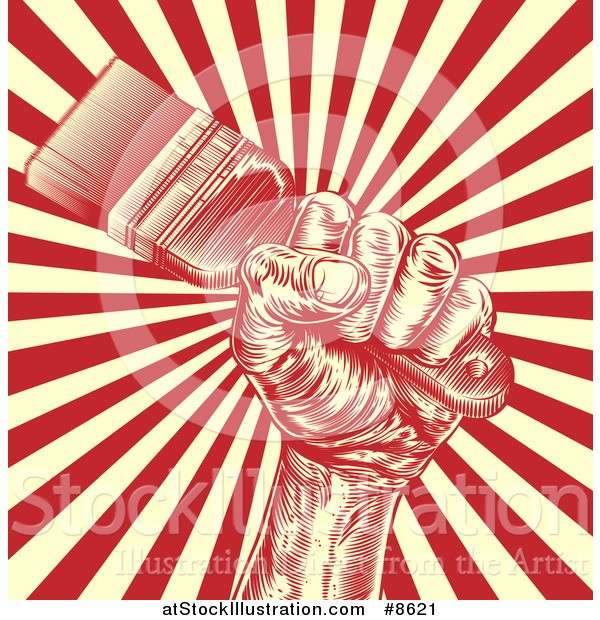 Vector Illustration of a Retro Woodcut Fist Holdnig a Paintbrush over Yellow and Red Rays