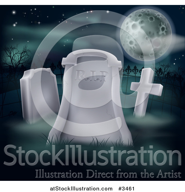 Vector Illustration of a RIP Cemetery Tombstone Under a Full Moon