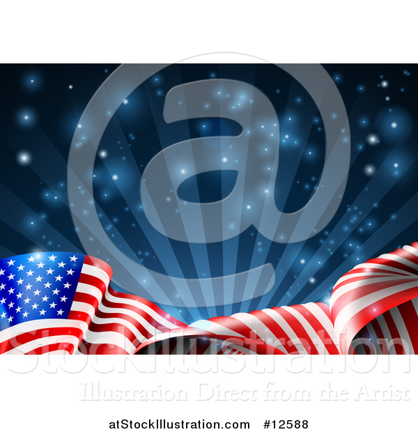 Vector Illustration of a Rippling American Flag over Dark Blue Rays and Flares
