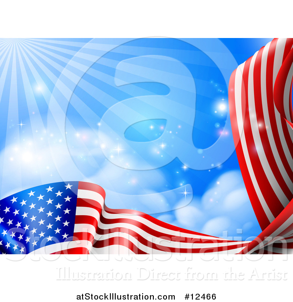 Vector Illustration of a Rippling American Flag Under Blue Sky with Rays of Sunshine