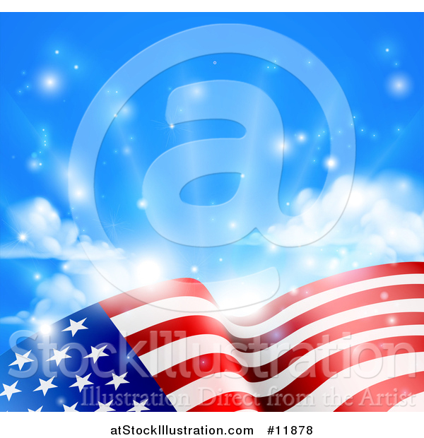 Vector Illustration of a Rippling American Flag Under Blue Sky with Sunshine