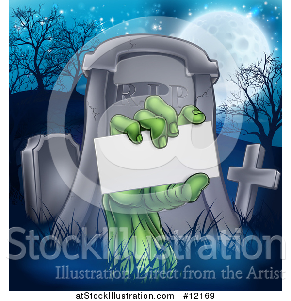 Vector Illustration of a Rising Zombie Hand Holding a Blank Card in a Cemetery