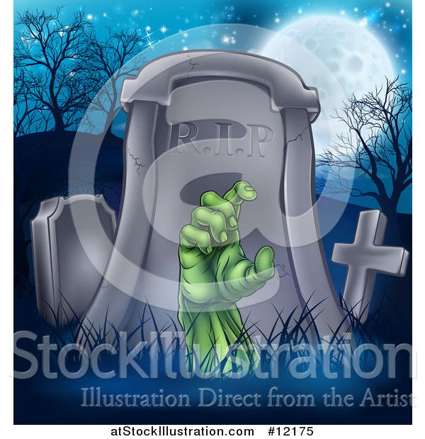 Vector Illustration of a Rising Zombie Hand in a Cemetery