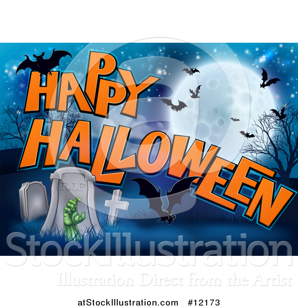 Vector Illustration of a Rising Zombie Hand in a Cemetery, with Happy Halloween Text and Bats