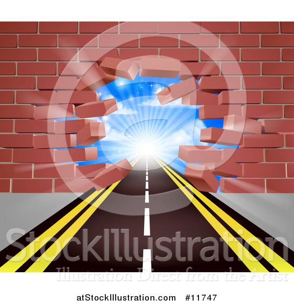 Vector Illustration of a Road Leading Through a Hole in a 3d Red Brick Wall