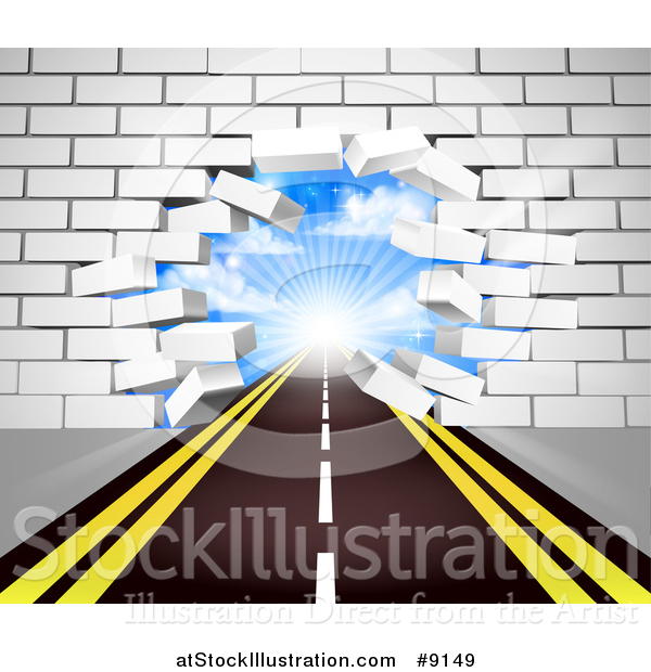 Vector Illustration of a Road Leading Through a Hole in a 3d White Brick Wall