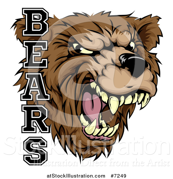 Vector Illustration of a Roaring Aggressive Bear Mascot Head with Text
