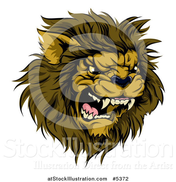 Vector Illustration of a Roaring Aggressive Male Lion Mascot Head