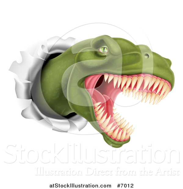 Vector Illustration of a Roaring Angry Green Tyrannosaurus Rex Dino Head Breaking Through a Wall