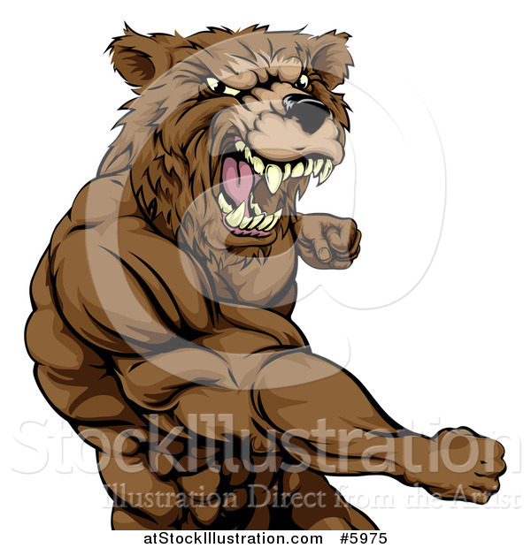 Vector Illustration of a Roaring Angry Muscular Bear Man Punching