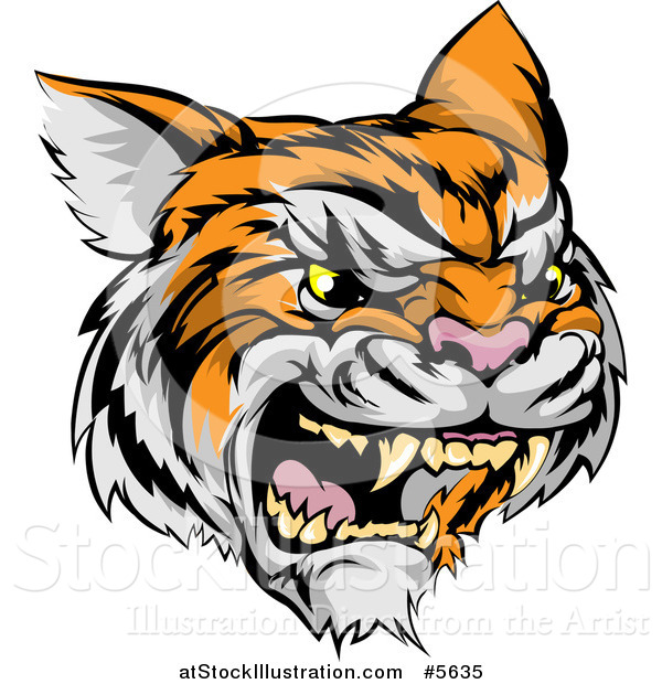 Vector Illustration of a Roaring Angry Tiger Mascot Head