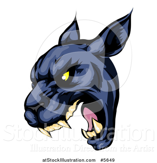 Vector Illustration of a Roaring Black Panther Mascot Head