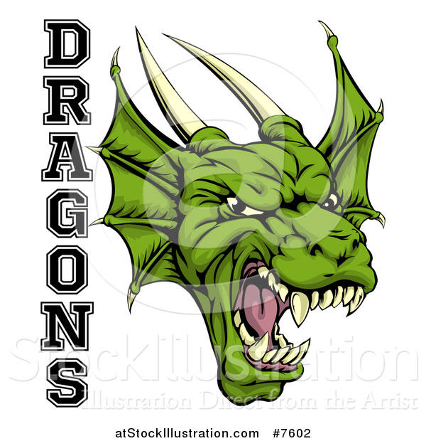 Vector Illustration of a Roaring Green Horned Dragon Mascot Face with Text