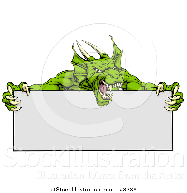 Vector Illustration of a Roaring Green Horned Dragon Mascot Holding a Blank Sign
