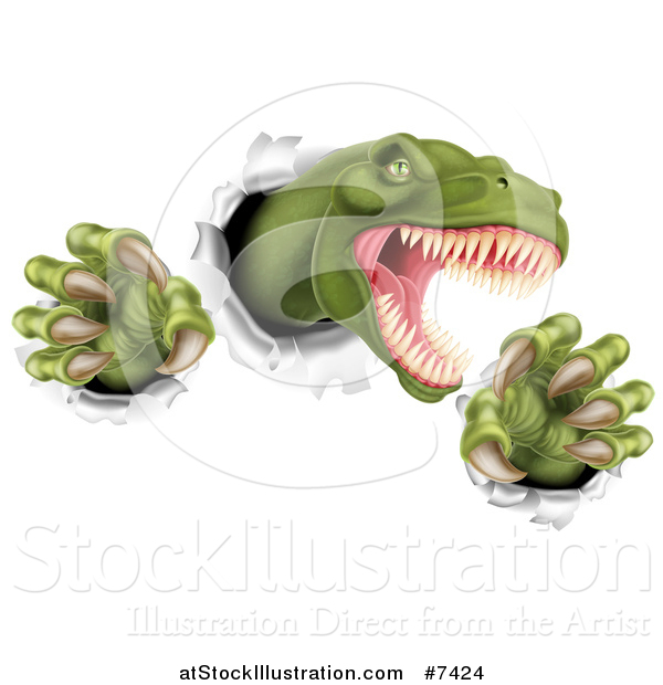 Vector Illustration of a Roaring Green Tyrannosaurus Rex Dinosaur Slashing Through Metal