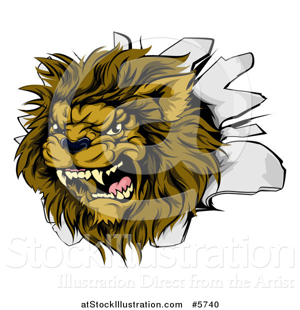 Vector Illustration of a Roaring Lion Mascot Head Breaking Through a Wall