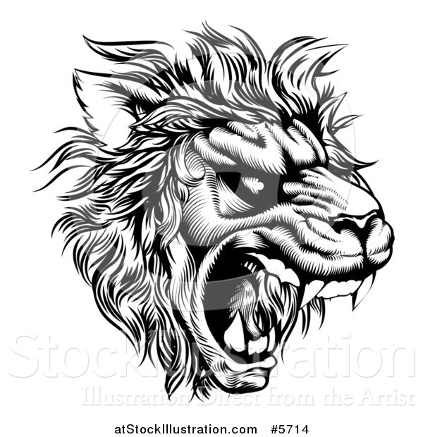 Vector Illustration of a Roaring Lion Mascot Head in Black and White