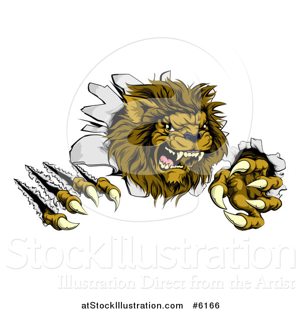 Vector Illustration of a Roaring Lion Mascot Shredding Through a Wall