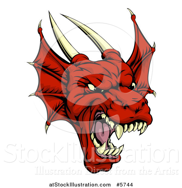 Vector Illustration of a Roaring Red Dragon Head